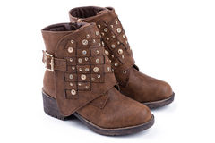 Brown ankle boots Royalty Free Stock Image