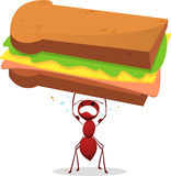 Brown Ant lifting an enourmous weight sandwich. With a brown strengthened ant and a cheese, lettuce and ham  illustration Stock Photo