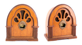 Brown antique radio on a white background. Royalty Free Stock Photography