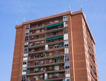 Brown Apartment Building with balconies Royalty Free Stock Photo