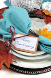 Brown and aqua theme Thanksgiving place setting closeup. Stock Photography