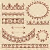 Brown arabic ornamental elements - vector set Royalty Free Stock Photography