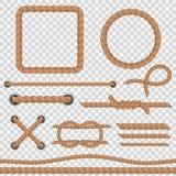 Brown arkana Realistycznych arkan morski sznur, nautyczny wyginający się wokoło dratwa konopie połączenia rocznika jutowej rabato royalty ilustracja