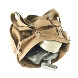 Brown army shoulder bag isolated Stock Image