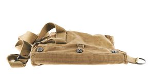 Brown army shoulder bag isolated. Over the white background Stock Image
