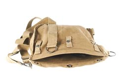 Brown army shoulder bag isolated Royalty Free Stock Photo