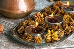 Brown aroma candles Royalty Free Stock Photography