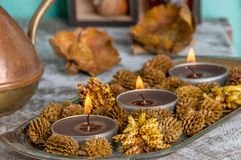 Brown aroma candles Royalty Free Stock Images