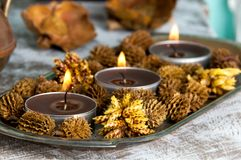 Brown aroma candles Stock Image