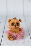Brown artist teddy bear in pink dress one of kind Stock Images
