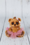 Brown artist teddy bear in pink dress one of kind Royalty Free Stock Images