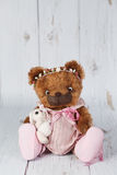 Brown artist teddy bear in pink dress one of kind Stock Photos