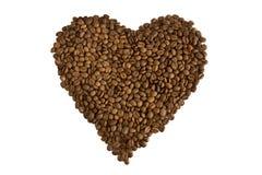Brown asó el corazón del café Imágenes de archivo libres de regalías