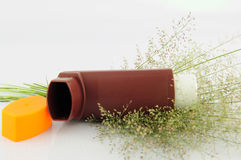 Brown Asthma inhaler and grass flower on white background. Asthma inhaler on white background Royalty Free Stock Photo