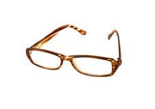 Brown-Augen-Gläser lokalisiert auf Weiß Lizenzfreies Stockbild