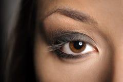 Brown-Augen-rauchiges Make-up lizenzfreie stockbilder