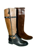 Brown autumn  woman's boots Stock Images