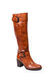 Brown autumun leather boots for women Stock Image
