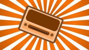 Brown avec radio rectangulaire de hippie de vieux rétro vintage antique jaune la première, récepteur radioélectrique de musique a Photos libres de droits