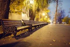 Brown ławki w perspektywie w parku równo obrazy stock