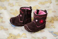 Brown baby booties Stock Photography