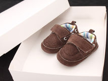 Brown baby shoes Royalty Free Stock Images