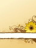 Brown background. With floral design element Stock Photo