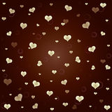Brown background. With golden hearts and circles Stock Photography