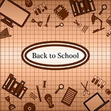 Brown background. Back to school. School supplies. Royalty Free Stock Photos