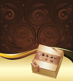 Brown Background with Chocolate Box Stock Photos