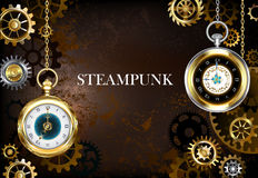Brown background with the clock Royalty Free Stock Photos