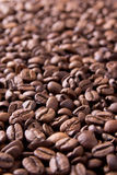 Brown background from coffee grains close up Royalty Free Stock Photos