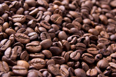 Brown background from coffee grains close up Stock Photos