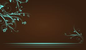 Brown background with floral ornaments. Brown background with blue floral ornaments Royalty Free Illustration