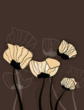 Brown background with flowers Royalty Free Stock Photos