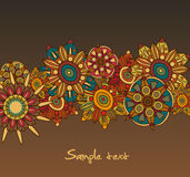 Brown background with flowers Royalty Free Stock Photography