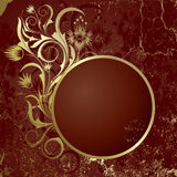 Brown background with   frame. Brown  background with frame from abstract branch  and  flowers Royalty Free Stock Photo