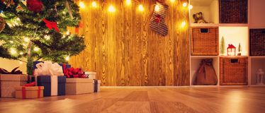 Brown background with gift boxes Royalty Free Stock Photo