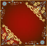 Brown background with gold ornament and precious s Stock Image