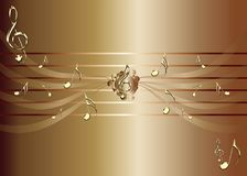 Brown background with golden music notes and treble clef illustration. Music theme illustration - golden notes - brown background illustration Vector Illustration