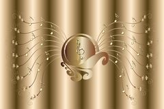 Brown background with golden music notes and treble clef illustration. Brown background with golden music notes and treble clef - musical theme illustration Vector Illustration