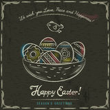 Brown background with nest full of easter eggs Stock Image