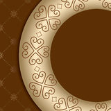 Brown background with ornament on gold gradient Royalty Free Stock Photo