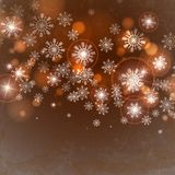 Brown Background With Snowflakes. Vector Illustration. Eps 10 royalty free illustration