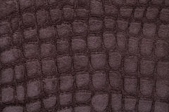 Brown background from soft upholstery textile material, closeup. Fabric with pattern imitating crocodile skin.. Royalty Free Stock Photo