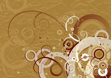 Brown background,vector. Brown background with flowers and spiral,vector illustration Royalty Free Stock Photos