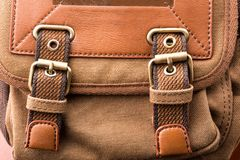 Brown backpack buckle Royalty Free Stock Photography