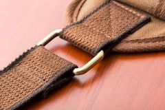 Brown backpack buckle Royalty Free Stock Images