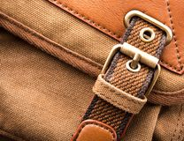 Brown backpack buckle Royalty Free Stock Photo