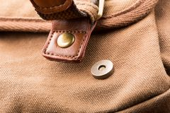 Brown backpack buckle Stock Photo